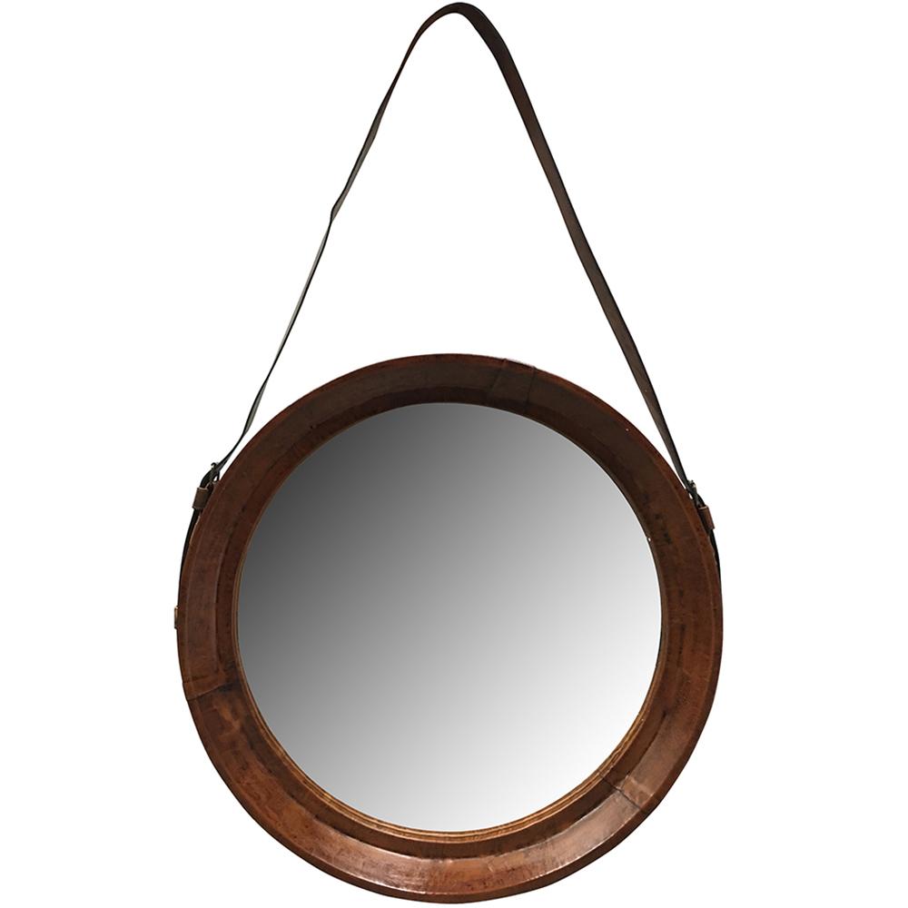Espejo redondo cuero taller de las indias for Espejo redondo pared